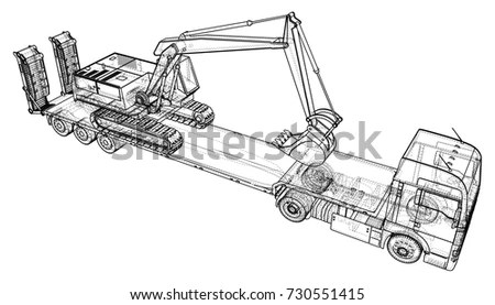 Low Bed Truck Trailer Wireframe Eps10 Stock Vector