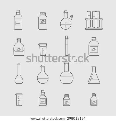 Chemical Glassware Icons Set Test Tube Stock Vector