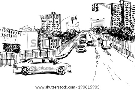 Hand drawing outline of a perspective road in a big