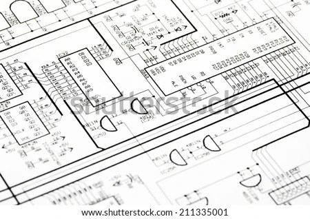 Detailed Technical Drawing Calculations Stock Photo (Edit