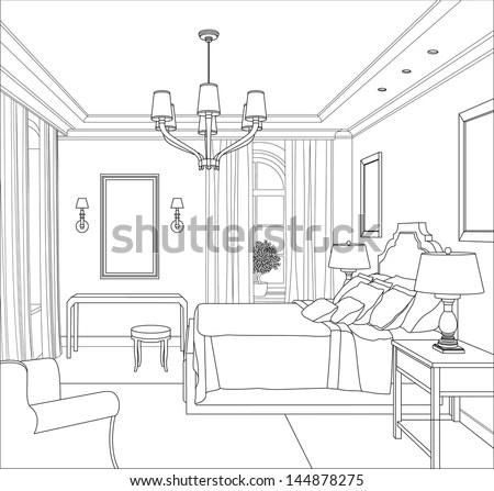 Line drawing house Stock Photos, Images, & Pictures