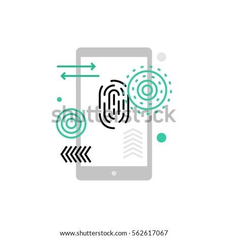 Modern Vector Icon Mobile Security Fingerprint Stock