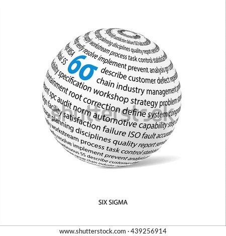 Six Sigma Word Ball White Ball Stock Vector 439256914