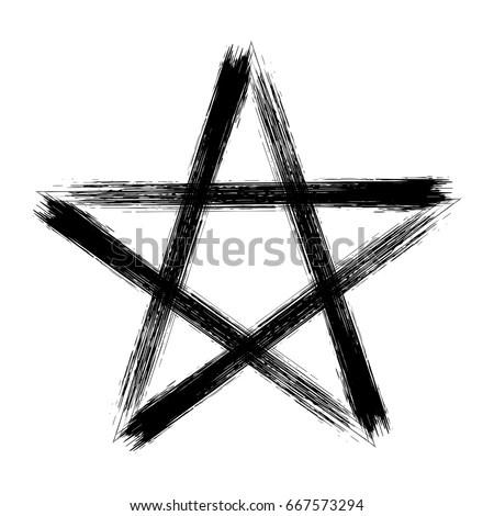 Pentagram Icon Brush Drawing Magic Occult Stock Vector