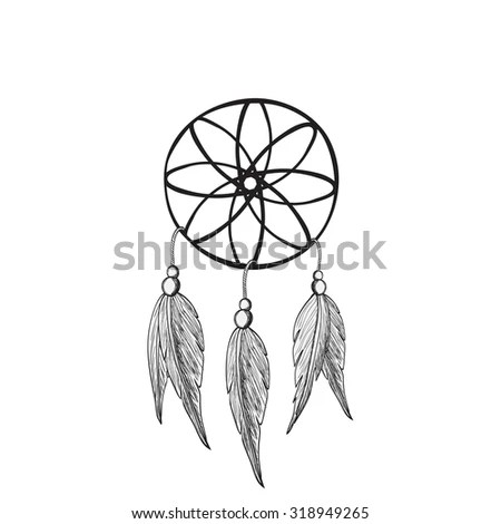 Hand Drawn Indian Dream Catcher Stock Vector 265135715
