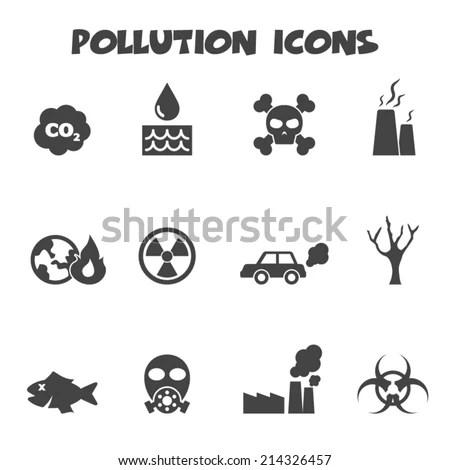 Pollution Icons Mono Vector Symbols Stock Vector 214326457