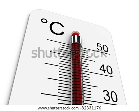 Thermometer Indicates Extremely High Temperature Stock