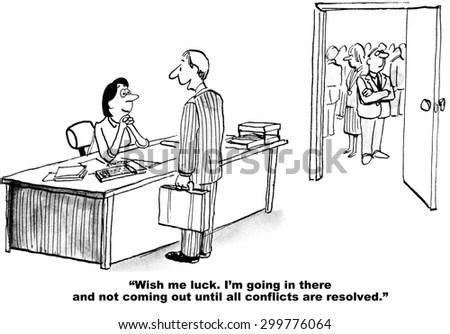 Business Cartoon Businessman Saying Wish Me Stock