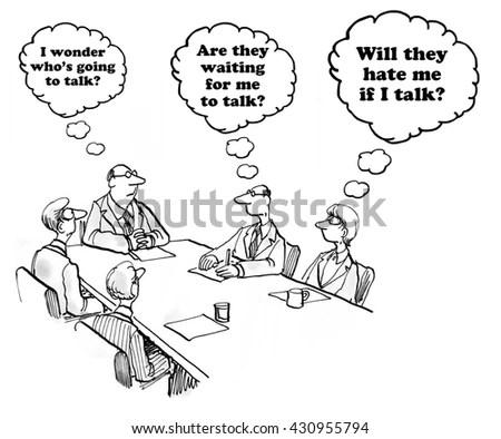 Business Cartoon About Hesitancy Speak Meeting Stock