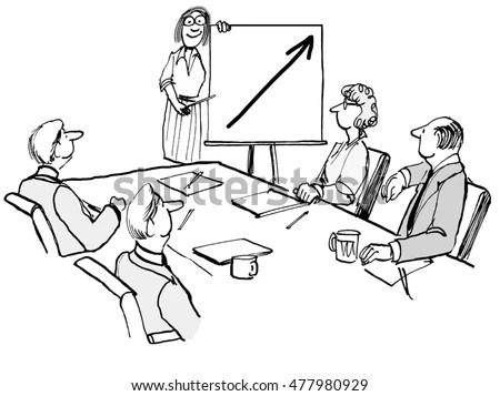 Presentation Businessman Hand Draw On Craft Stock Vector