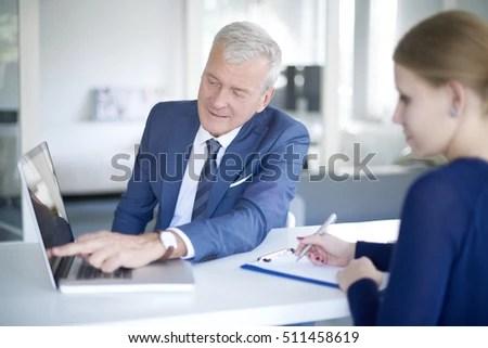 Portrait Senior Businessman Standing Office Stock Photo