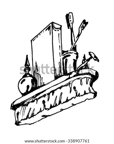Black White Vector Illustration Riverboat Paddle Stock