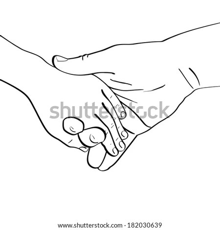 Hands Open Door Black White Pencil Stock Vector 533546404