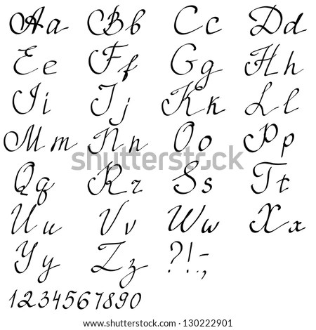 Hand Drawn English Alphabet Letters Vector Stock Vector