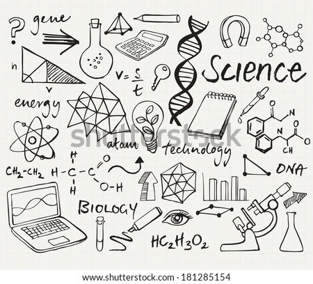 Science Icons Doodle Vector Set Stock Vector 181285154