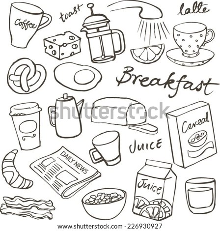 Breakfast Food Icons Doodle Set Stock Vector 226930927