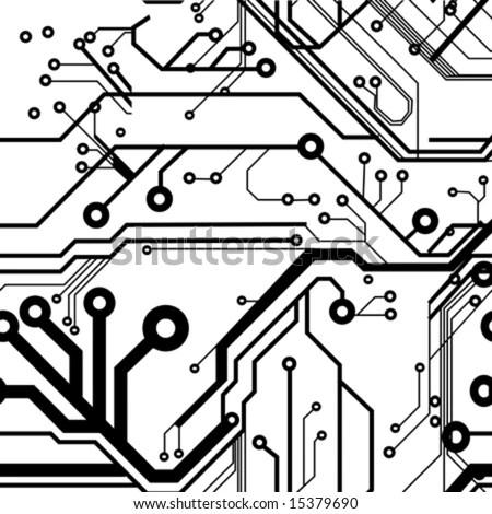 Seamless Printed Circuit Board Pattern Stock Vector