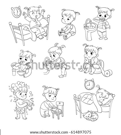 Daily Routine Pages Coloring Pages