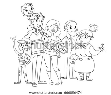 My Big Family Posing Together Father Stock Vector