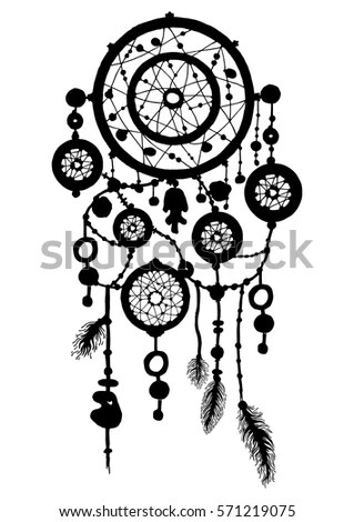 Hand Drawn Dreamcatcher Silhouette Beads Feathers Stock