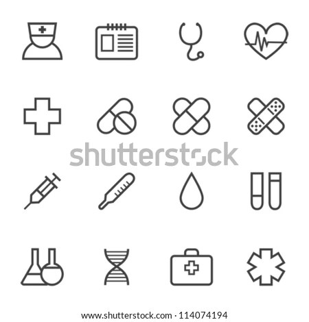 Contour Simple Medical Icons Set Stock Vector 114074194