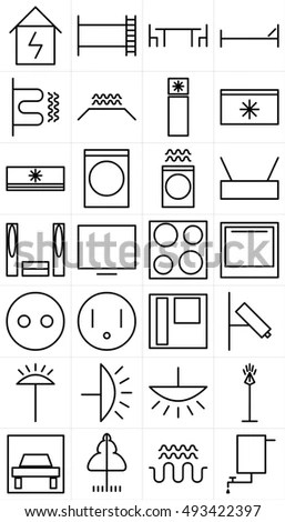 Set Black White Symbols Home Appliance Stock Vector