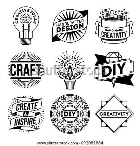 Simple Mono Lines Logos Collection Creativity Stock Vector