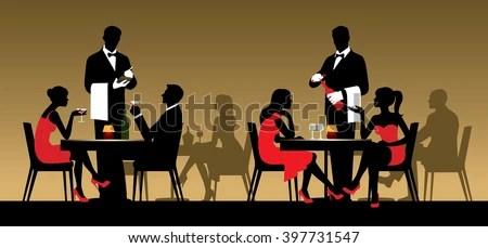 vector night restaurant sitting tables club silhouettes silhouette persone vettoriale sagome sedute ristorante illustrazione menschen einem shutterstock vektor alamy bar