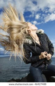 wind-blown stock royalty-free