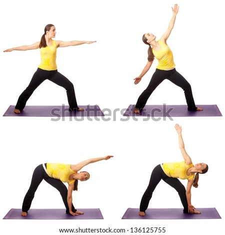Adult female yoga practitioner. Studio shot over white. - stock photo