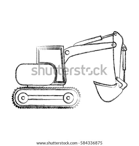 Monochrome Contour Hand Drawing Tractor Loader Stock
