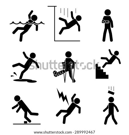 Safety Accident Icons Set Trauma Brick Stock Vector