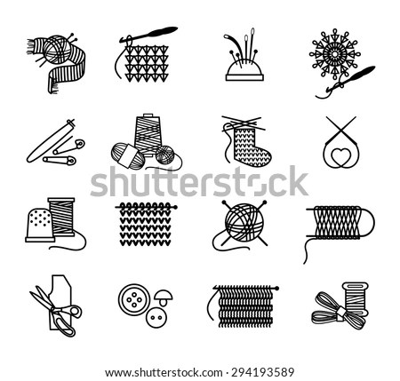 Hand drawn knitting, embroidering and sewing icons set