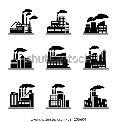 Factory Industrial Building Icons Power Plant Stock
