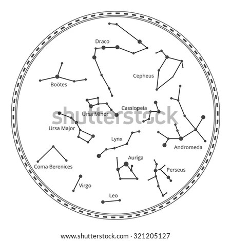Vector Sky Map Constellations Astrology Draco Stock Vector