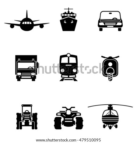 Set Icons Electric Generator Air Compressor Stock Vector