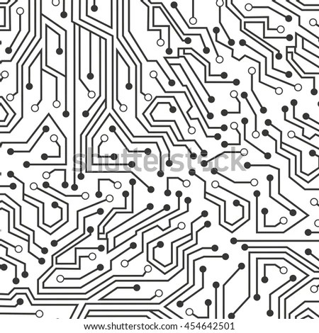 Circuit Board Over Black Background Vector Stock Vector