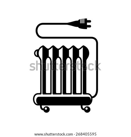 Typical oil heater or oil filled radiator icon or symbol