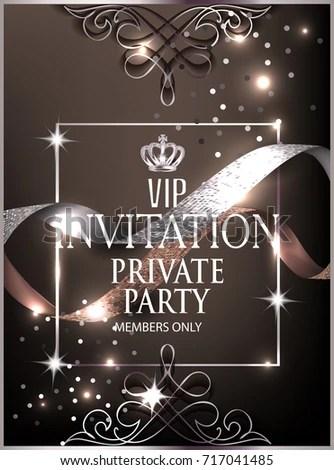 Luxury Event Invitation Card Vintage Frame Stock Vector