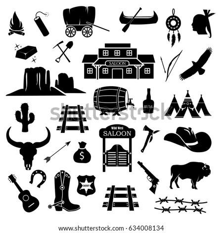 Cowboy Western Wild West Icon Set Stock Illustration