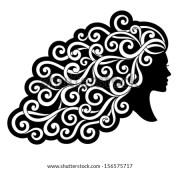vector silhouette girl curly hair