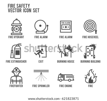Fire Safety Vector Line Icon Set Stock Vector 621823871