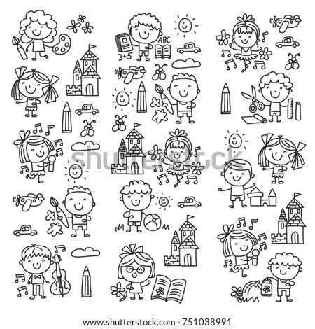 Happy Children Kids Drawings Stock Illustration 265266995