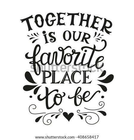Hand Lettering Typography Family Poster Romantic Stock