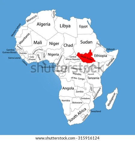 Republic South Sudan Vector Map Silhouette Stock Vector