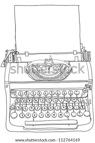 Illustration Retro Type Writing Machine Love Stock