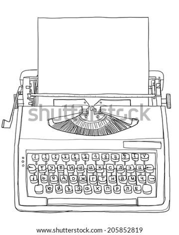 Retro Typewriter Vector Drawing Stock Vector 363251414