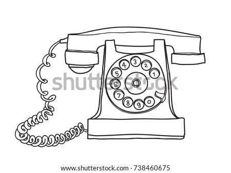 Set Retro Vintage Telephones Isolated On Stock Vector