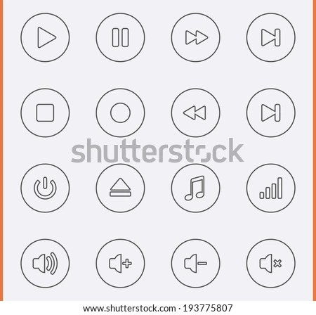 Media Player Icons Thin Line Style Stock Vector 193775807