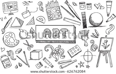 Black White Fine Art Stationary Doodle Vector de stock